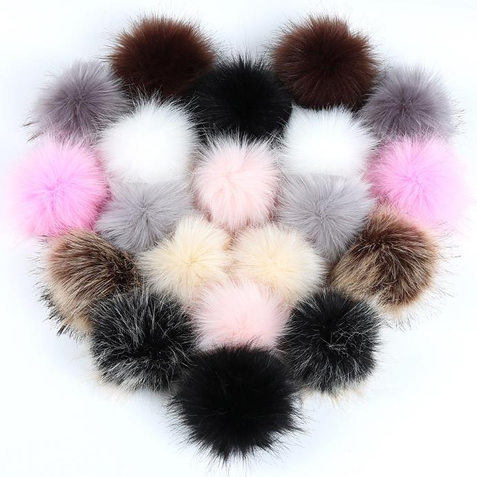 Wholesale Pom Pom For Beanie Hats, Snap On fluffy fox fur Pompom, Detachable Faux raccoon Fur Ball