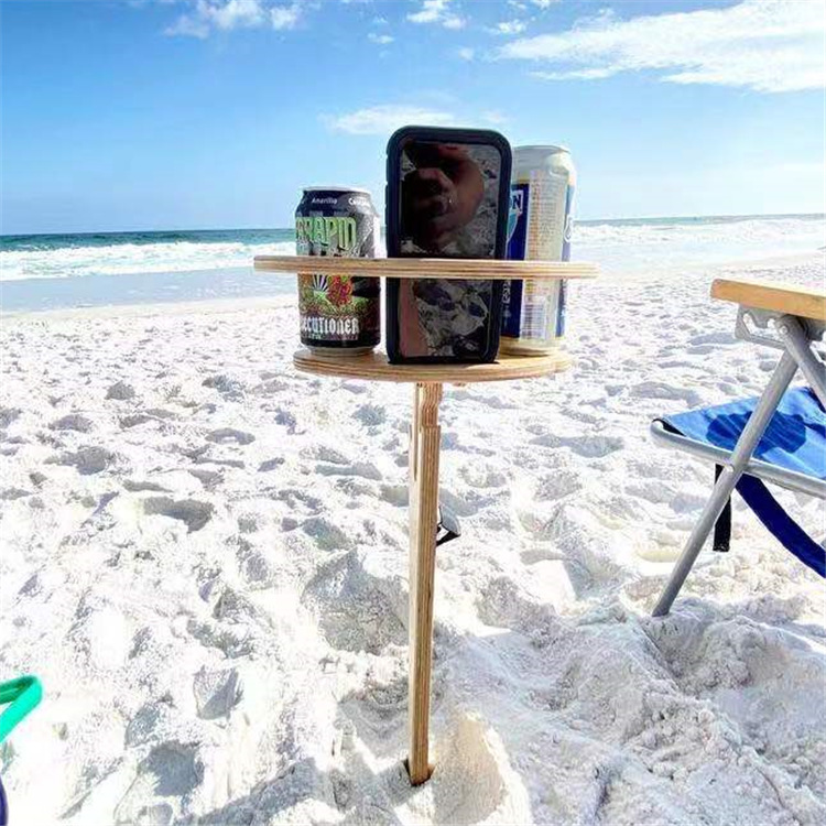 A3669 Foldable Wine Cup Holder Display Wood Hanging Rack Cup Beach Goblet Shelf Outdoor Portable Wine Table