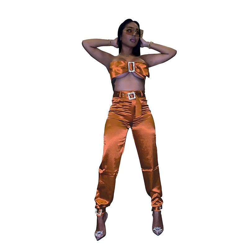 ANJAMANOR, сатиновый Женский комплект из 2 предметов, бюстгальтер, укороченный топ и штаны, облегающие, сексуальные, вечерние, для клуба, одежда д...(Китай)