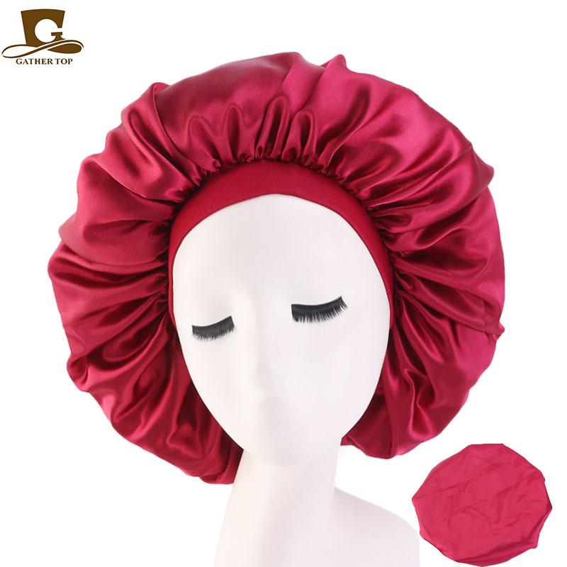 Fashion big size silky long headwrap sleep bonnet women lady cap elastic band mix color hair accessories wholesale
