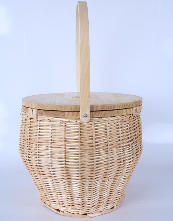 Горячая Распродажа, круглая плетеная корзина для пикника с деревянной крышкой и откидной ручкой, корзина для хранения пикника
