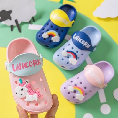 Оптовая продажа Радуга»/«Единорог»); Детский Пижамный костюм, шлепанцы для лета, Нескользящие, дышащие, приятные на детские сандалии
