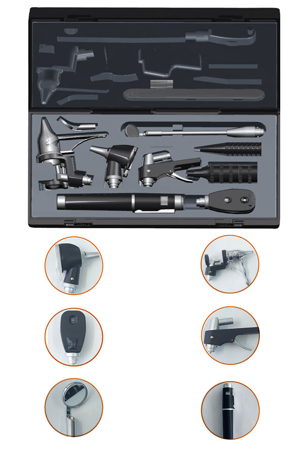 Аудиоскоп, отоскоп, офтальмоскоп, носороскоп, стоматоскоп, лопатка для языка, набор лор