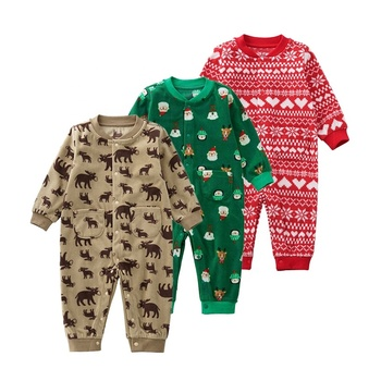 Factory custom wholesale 100% polyester cute pattern christmas romper baby rompers winter baby rompers