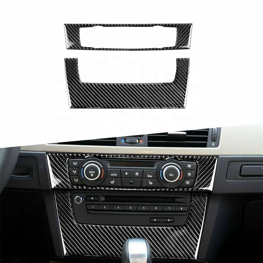 KSTE Carbon Fiber Car Central Control Panel Cover Trim Compatible with B-M-W 3 Series E90 E92 E93 Tricolor