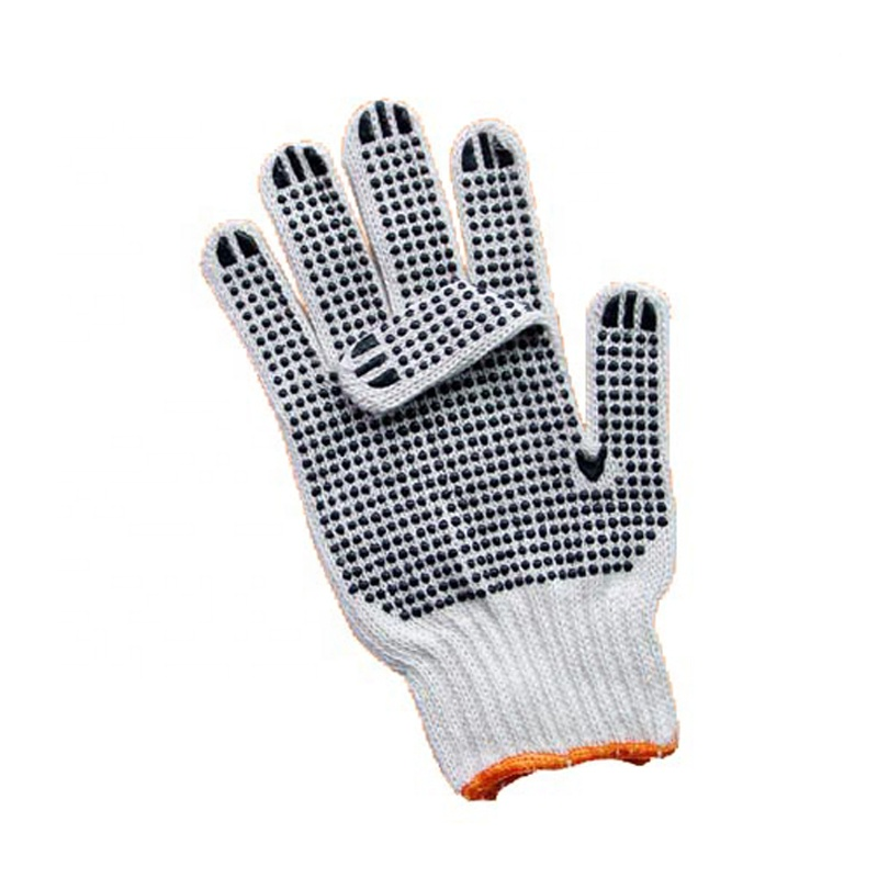 Double sides PVC dots work safety garden cotton gloves