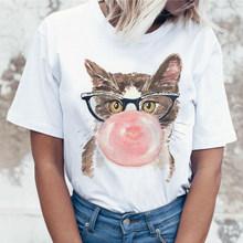Милая мягкая эстетичная Одежда для девочек с рисунком кота летняя одежда для женщин Хиппи Белый Топ летняя уличная одежда женская летняя од...(China)
