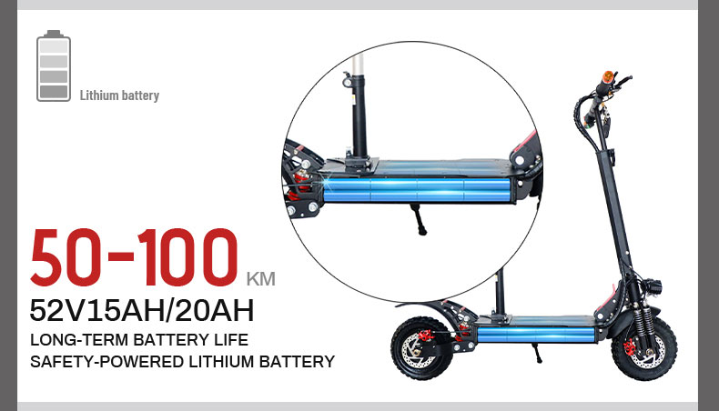 China Hot Sales Dual Motor Electric Scooter, 52V 11 Inch Offroad Tire Electric Scooter 1000W