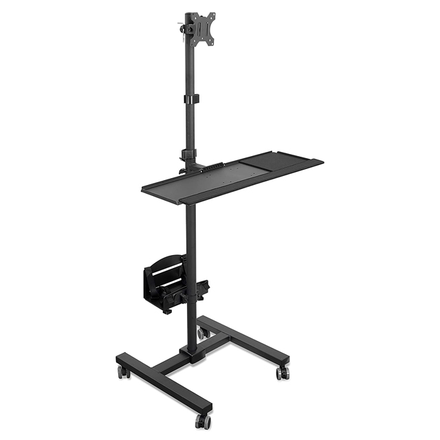 Rolling Computer Cart Mobile Workstation with Tray Monitor Mount and CPU Holder Mobile Stand for Office and Industrial Use