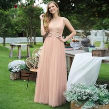 Элегантные блестящие вечерние платья Ever Pretty EP00789NB, а-силуэта, с двойным v-образным вырезом и аппликацией, без рукавов, тюлевые вечерние плать...(Китай)