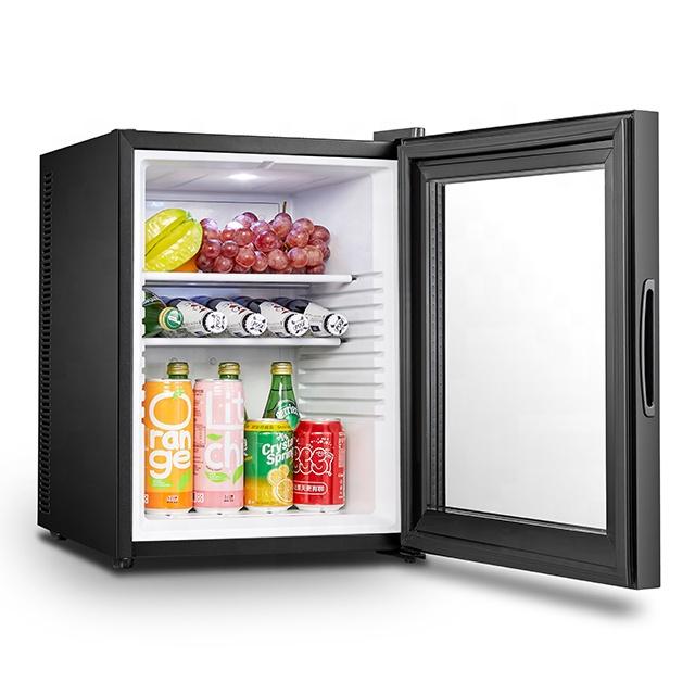 Бесшумная мини-холодильник из прозрачного стекла для комнат в отеле 40 л