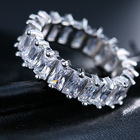 Ring Diamond Cubic Zirconia Gold Silver Baguette Ring Jewelry Eternity Diamond Ring