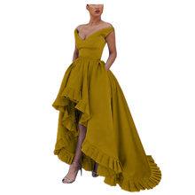 LORIE атласные вечерние платья с высоким/низким вырезом, Длинные вечерние платья для выпускного вечера со шнуровкой размера плюс, изготовленн...(Китай)