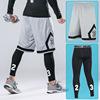 gray shorts with black tights
