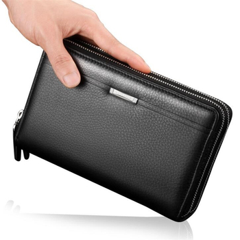 Fashion good quality brand double zipper large PU leather long wallet clutch bag men