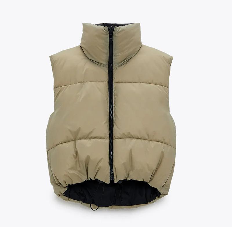 Reversible Gilets Cropped Vest Women Coat Sleeveless Down jacket Female Chic Top Waistcoat Chalecos Mujer Bodywarmer 2021