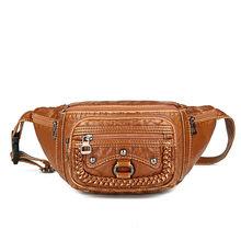 Винтажная Женская поясная сумка с заклепками, дизайнерская поясная сумка из искусственной кожи, Большая вместительная сумка с карманами дл...(Китай)