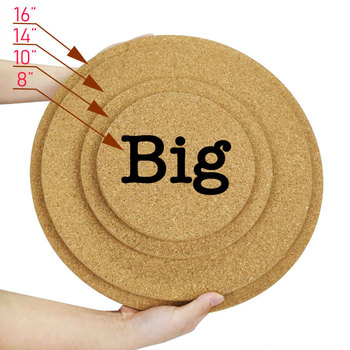 8,10,14,16 inches Extra Large Round Blank Cork Coaster Custom Big Shape Cork Liner 20,25,36,40cm Cork Tray