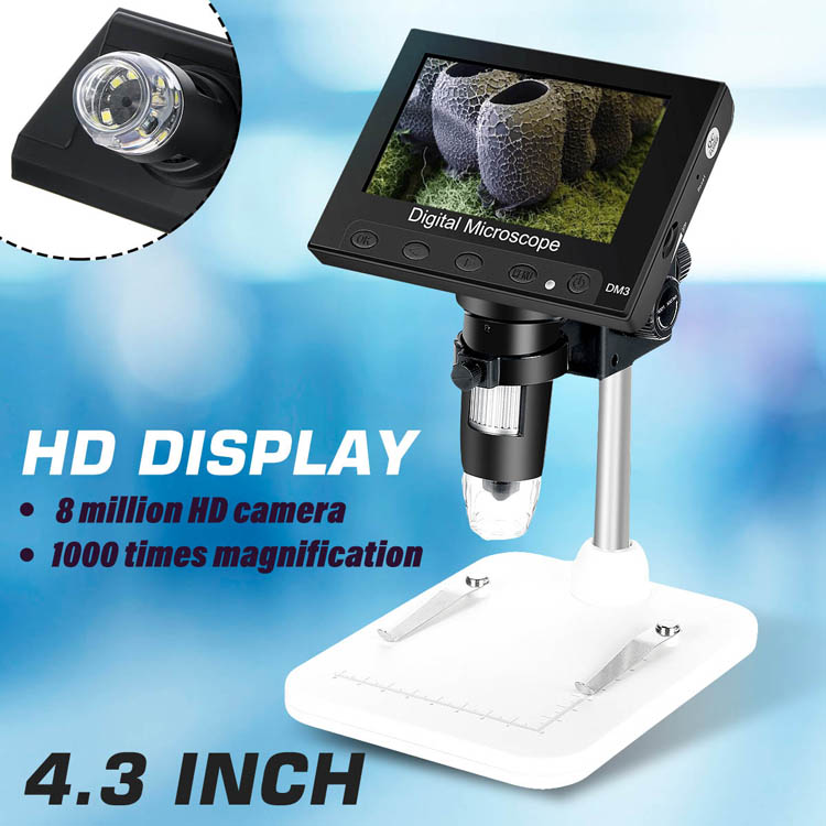 1000X 2.0MP 4.3 inch electronic microscope DM4 digital LCD microscope camera with charging