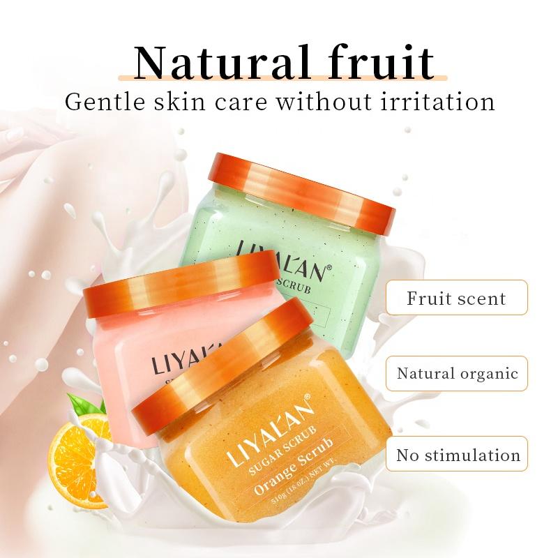 Wholesale vendor private label natural organic fruit whitening exfoliating sugar body scrub