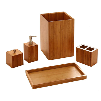 Combohome 5-Piece Bamboo Bath and Vanity Luxury Bathroom Essentials Organizer Accessory Set
