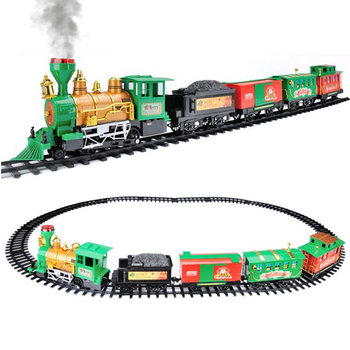 Outdoor and Indoor Kids Toys Train Set Electric Smoking Christmas Tree Train