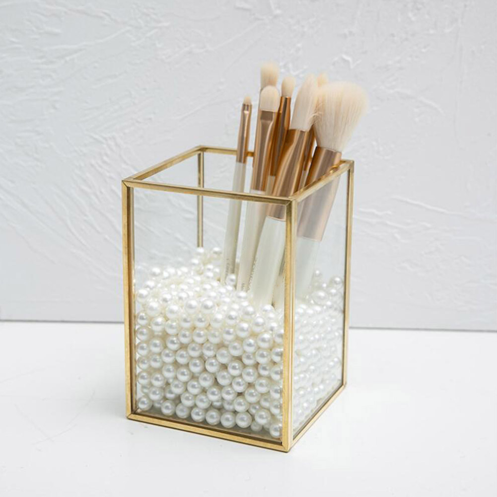 Transparent Glass Makeup Brush Storage Box Luxury Cosmetics Storage Box Container