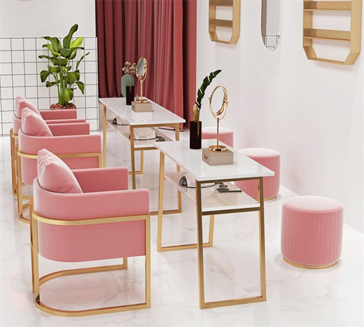 Nordic Style Simple Double-layer Marble Nail Table and Chair Set, Single and Double Golden Iron Nail Manicure Table