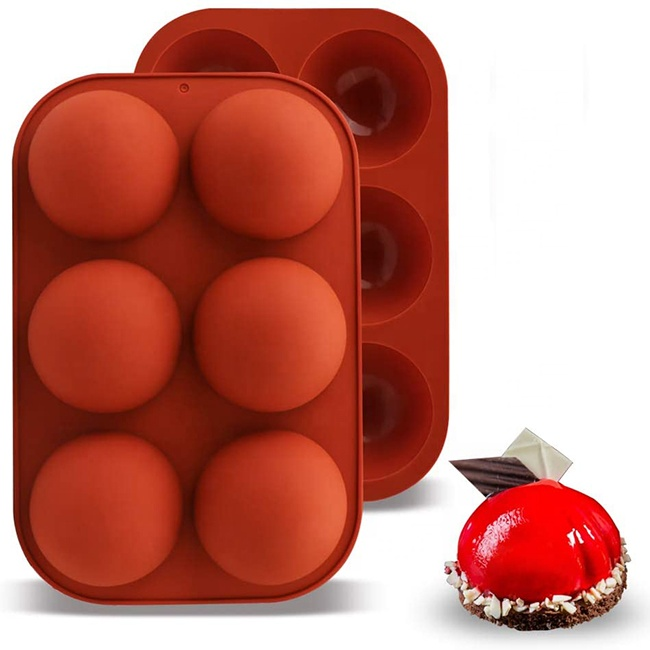 2021 Wholesale 6 Holes Semi Shpere Chocolate Bomb Jelly Baking Silicone Cake Molds