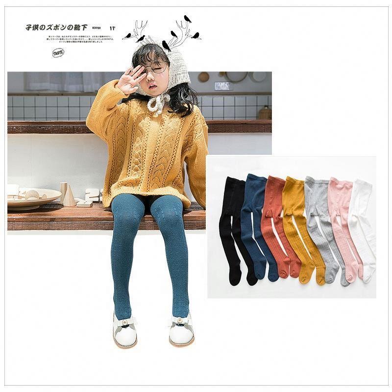 Весенне-осенние Разноцветные Вязаные длинные носки в Корейском стиле для маленьких девочек