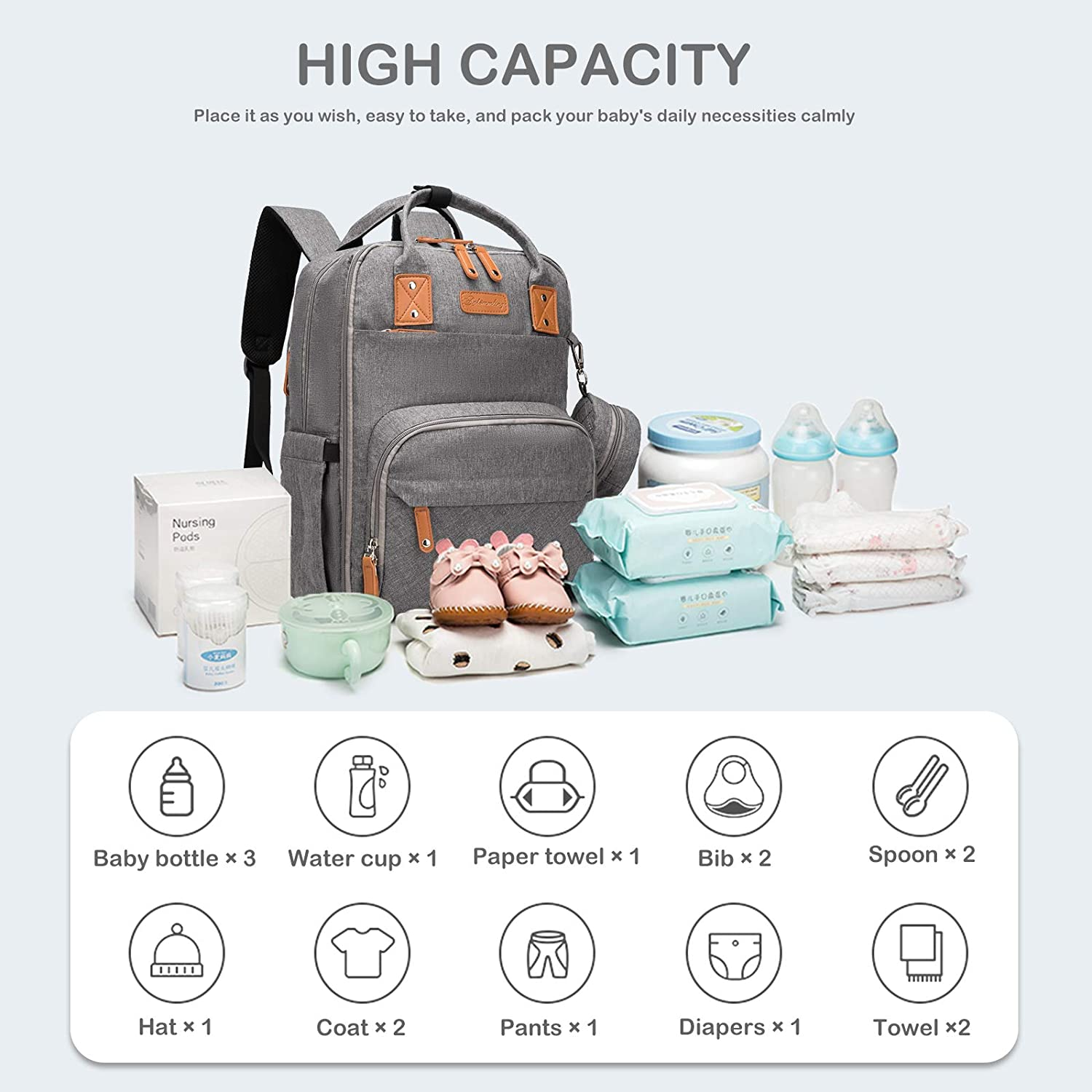 Large upgraded diapers baby bag 5 in 1 mummy nappy changing bag sac langer waterproof diaper bag backpack with changing station