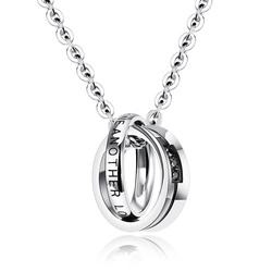 Европейские и американские Аксессуары для влюбленных из титановой стали ожерелья, кольца, инкрустированные бриллиантами резьба, ювелирные изделия с английскими буквами wholes