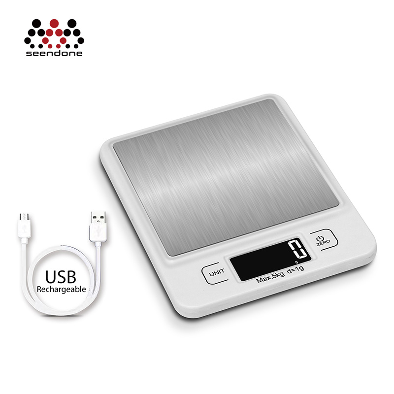 Digital Kitchen Scale Stainless Steel Household Rechargeable Battery Weighing Scale