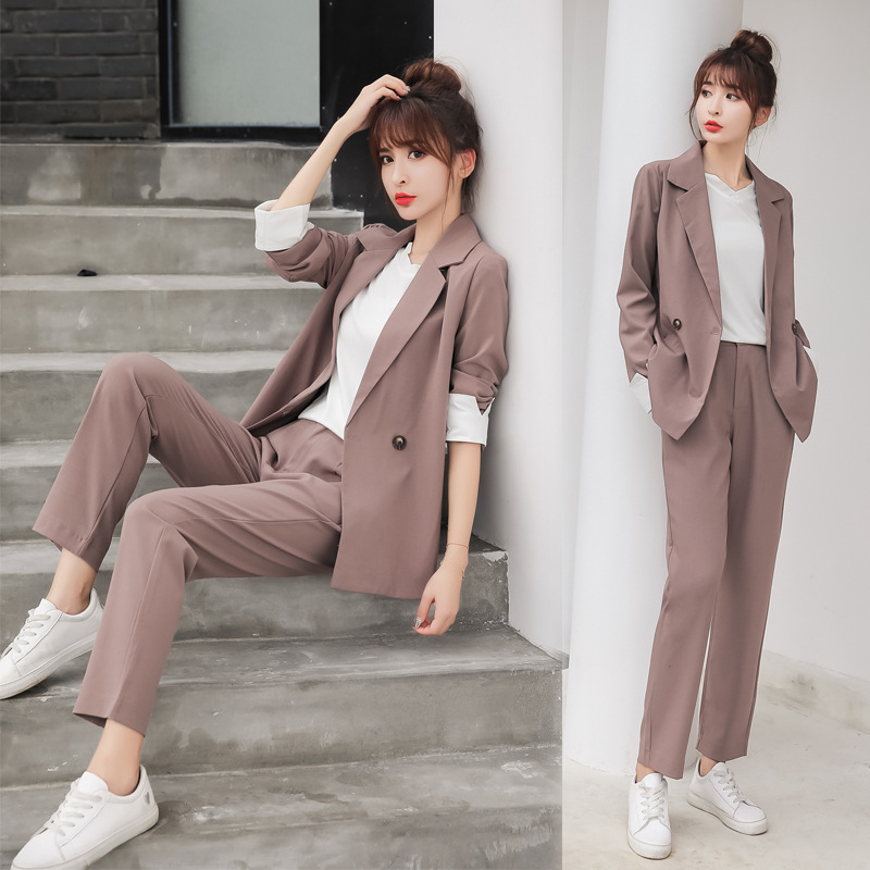Two Piece Set Women Outfits Double Breasted Long Sleeve Blazer Pants Suits 2 Piece Set