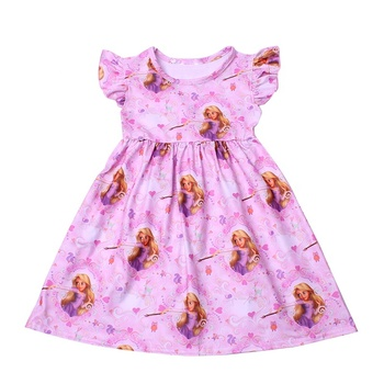 Baby girl frock patterns wholesale newborn baby clothes cute cartoon print milk silk pearl dress flutter sleeve party frocks