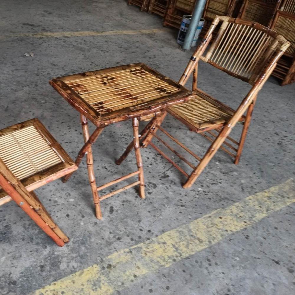 Набор складных бамбуковых стульев и столов, садовые стулья и столы, уличный непринужденный журнальный столик и стул естественного цвета