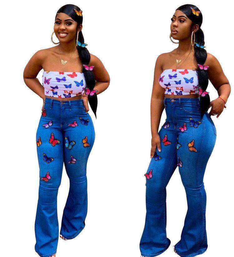 Pantalones Vaqueros Con Fondo De Campana Para Mujer Pantalon Largo Elegante De Cintura Alta Bordado De Mariposas A La Moda Rs00280 Buy Bell Bottom Denim Jeans Traje De Cintura Alta Pantalones Elegantes Mujeres Otono Mujer Pantalones Largos