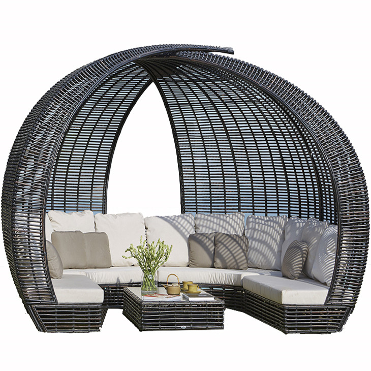 European style outdoor wicker round shape sofa with canopy