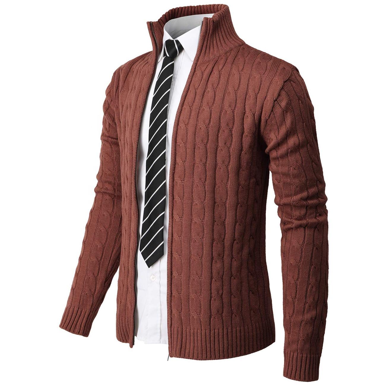 2021 Casual Slim Fit Zip Up Long Sleeve Men Cardigan Turtleneck Sweater