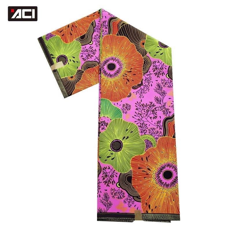 ACI Hot Sale African Wax Prints Fabric 6 Yards/Piece Veritable Wax African Ankara Fabrics Tissus Africains Nigeria Batik Fabric