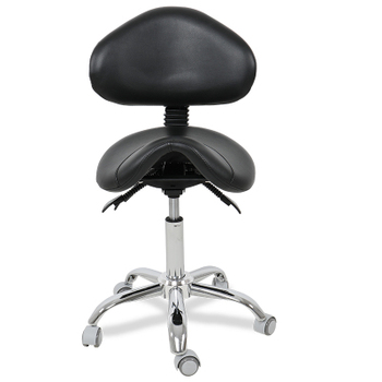 Dental Mobile Saddle Chair Doctor's Stool PU Leather Dentist Chair Stool with Back Support For Clinic
