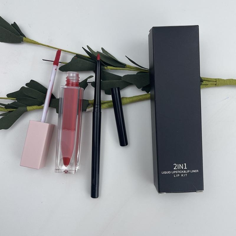 No Logo Makeup Cosmetics Waterproof Lip Stick Lip Liner Pencil Private Label Beauty Cosmetic Matte Lipstick Set Lip Kit 2pcs
