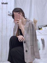 Женский блейзер в клетку с длинным рукавом, хлопковые куртки, винтажный клетчатый женский Блейзер, повседневное женское пальто, женские бле...(Китай)