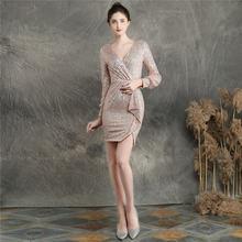 Женские мини-Выпускные платья It's Yiiya, вечерние платья с длинным рукавом и v-образным вырезом, расшитые блестками, на молнии, с DX233-2, 2020(Китай)