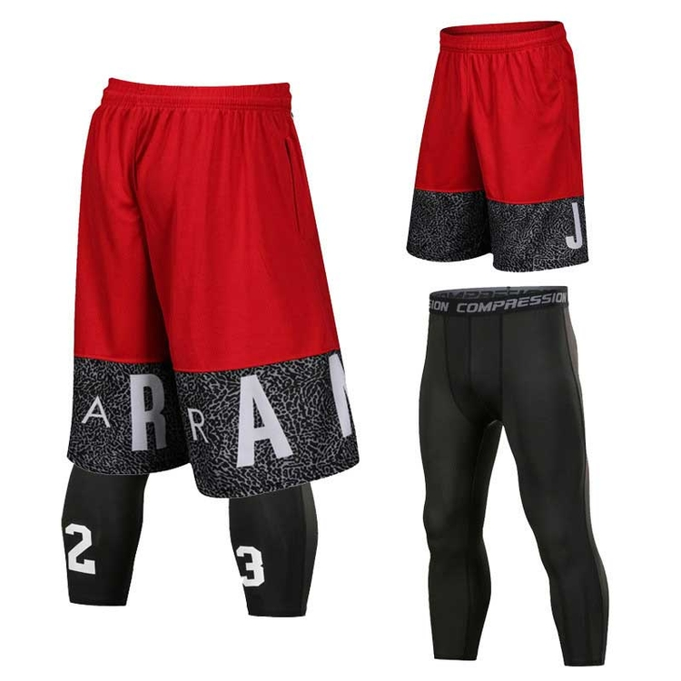 Factory direct custom made gray black polyester reversible red design basketball shorts for youth