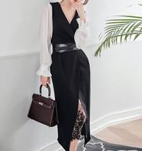 Женский шифоновый пиджак с длинным рукавом, кружевной комплект из двух предметов, сексуальная офисная одежда с поясом, Новинка осени 2020(Китай)