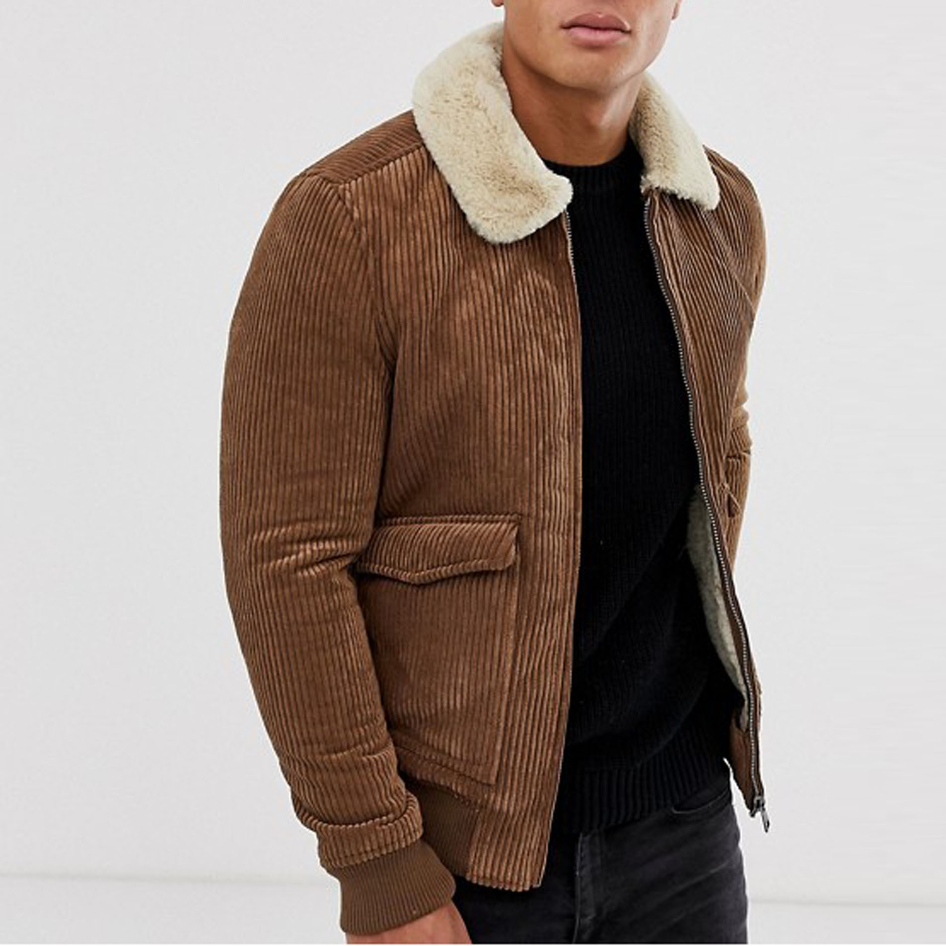 Mens winter corduroy sherpa jacket with faux fur lining and collar