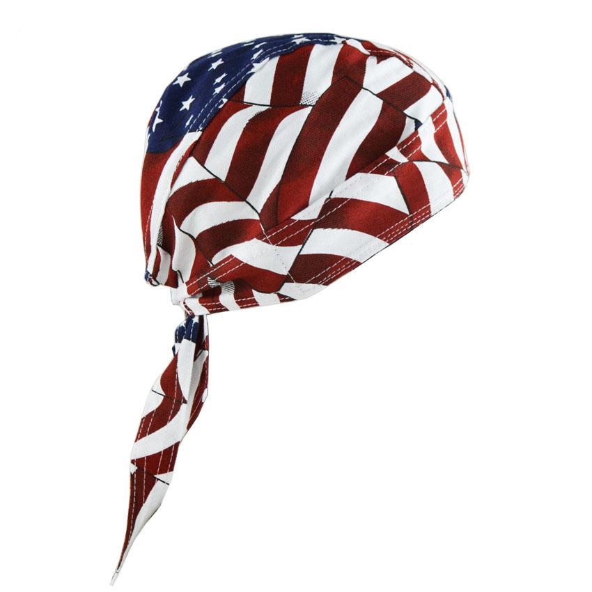 100% Cotton USA Flag Printing Outdoor Cycling Bike Headband Head Scarf Bandana Summer Unisex Private Hat