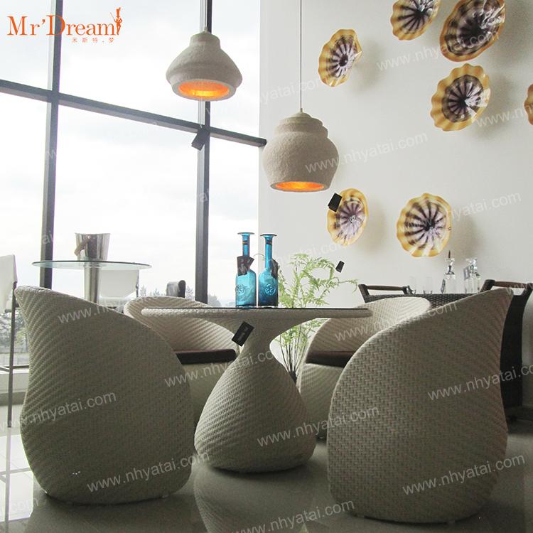 Foshan industrial принимает индивидуальный Отель Ресторан Кафе поли ротанга литой алюминий круглый открытый обеденный стол