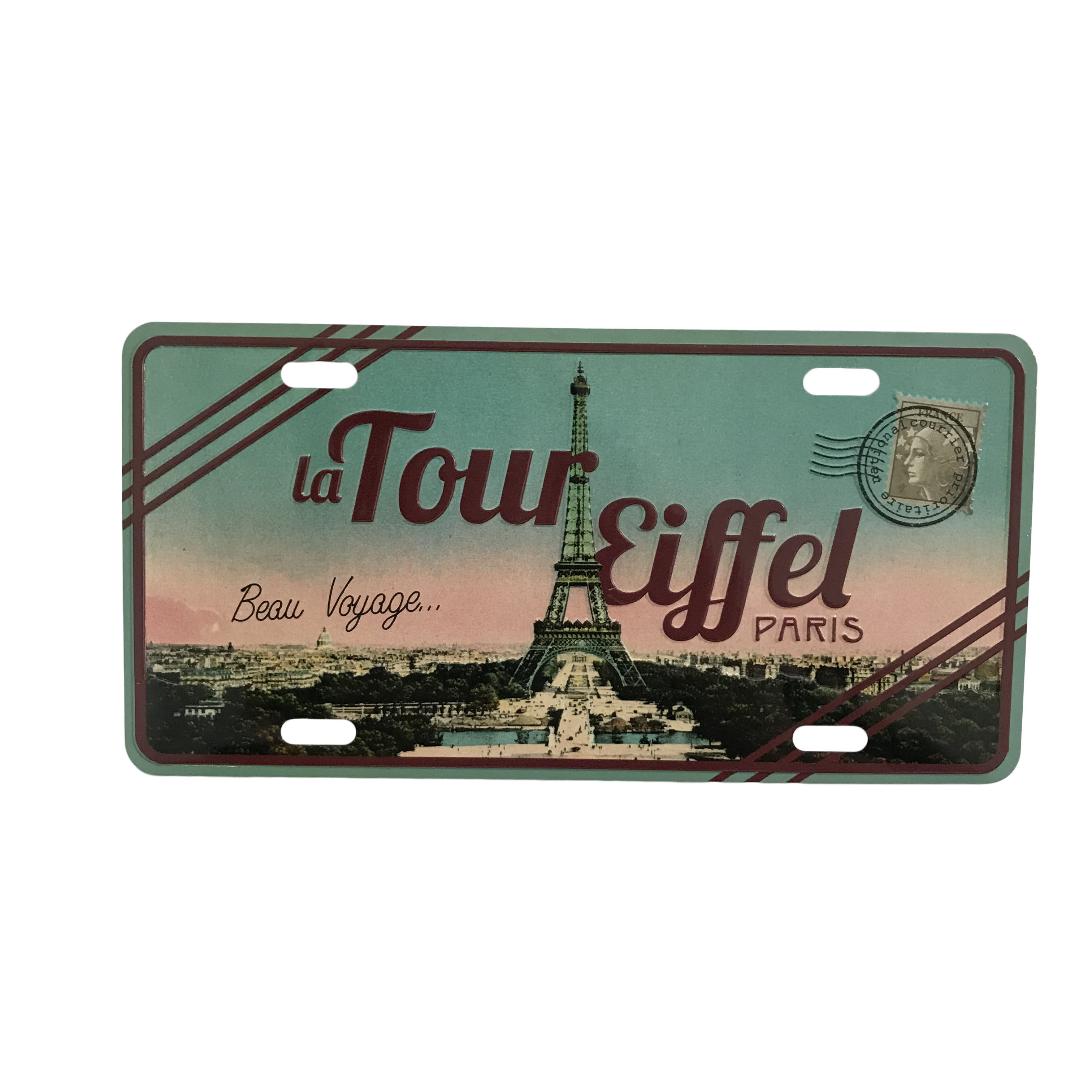Souvenir customized embossed souvenir retro metal tin aluminum postcard